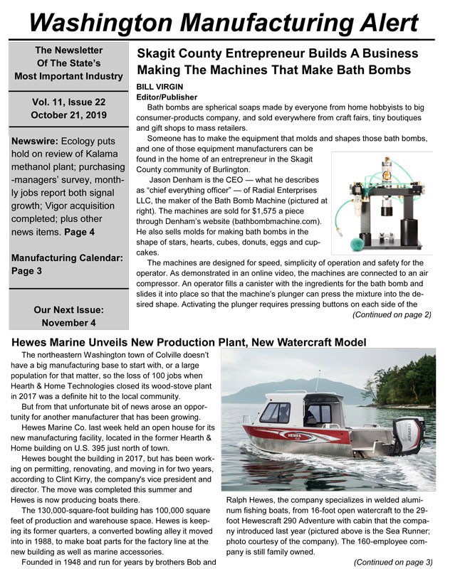 Bath Bomb Machine makes the cover of Washington Manufacturing Alert